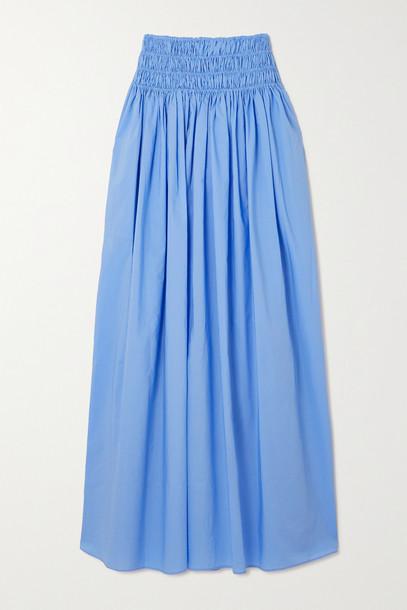 MATTEAU - + Net Sustain Shirred Organic Cotton-poplin Maxi Skirt - Blue