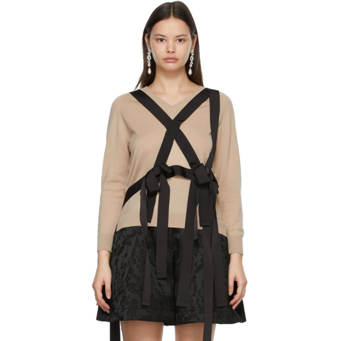 Simone Rocha Beige Wool Grosgrain Harness Sweater in black / camel