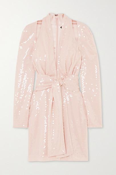 TOM FORD - Belted Sequined Crepe De Chine Halterneck Mini Dress - Pink