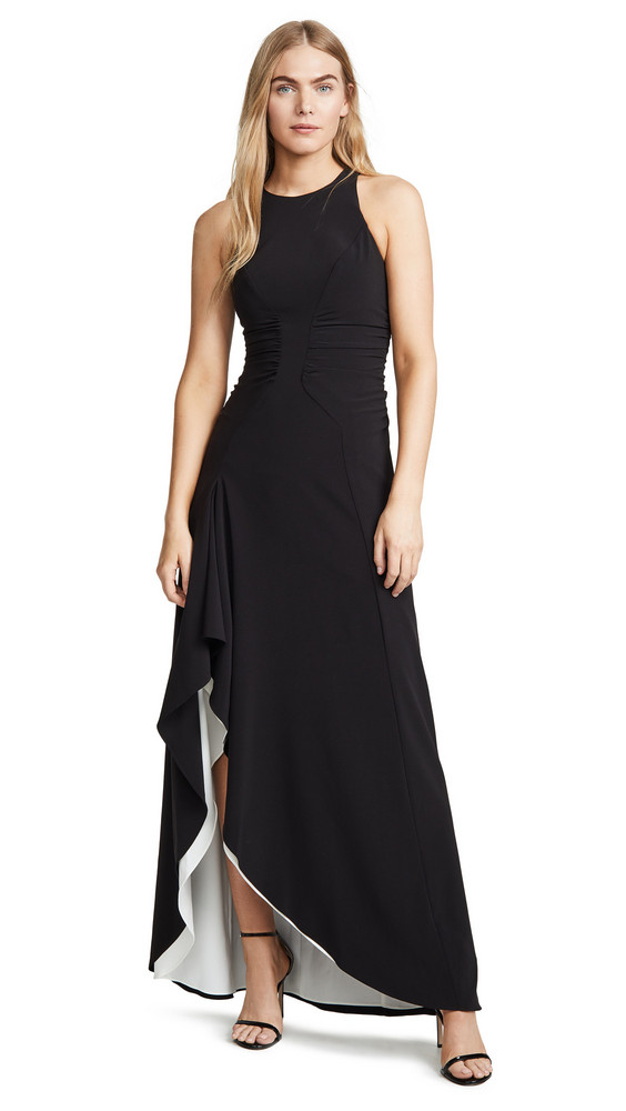 Halston Heritage High Neck Drape Gown with Ruching in black