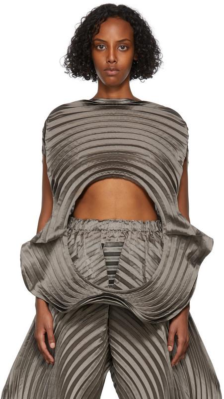 Issey Miyake Grey Monochrome Planet Short T-Shirt in gray