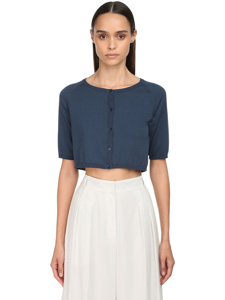 MAX MARA 'S Cotton Knit Cardigan W/ Short Sleeves in blue