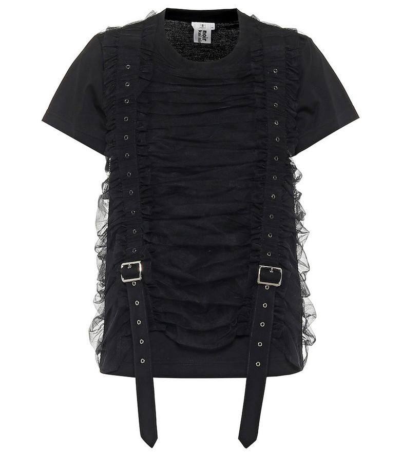Noir Kei Ninomiya Tulle-trimmed cotton T-shirt in black