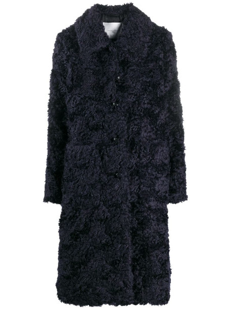 Mackintosh single-breasted long coat in blue