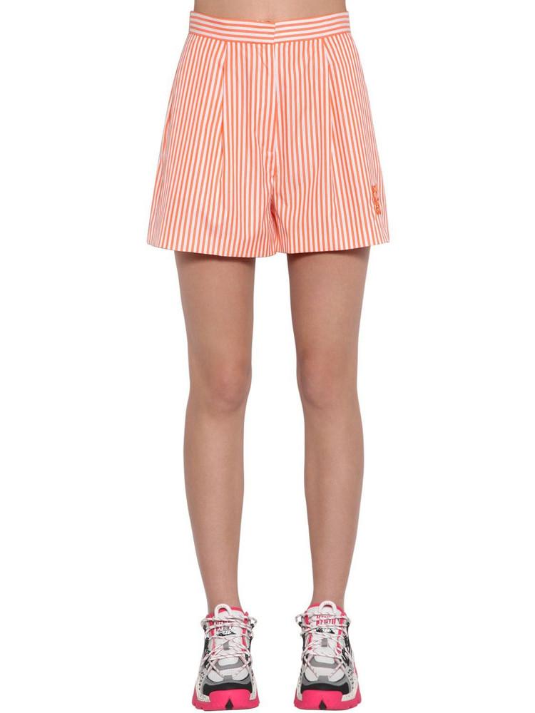 KENZO Striped Cotton Poplin Shorts in orange / white