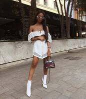 top,white top,mesh,white shorts,white boots,ankle boots,heel boots,pvc,bag,white sunglasses