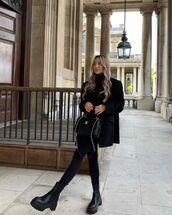 jacket,black blazer,black leggings,ankle boots,black bag,black turtleneck top,chanel bag