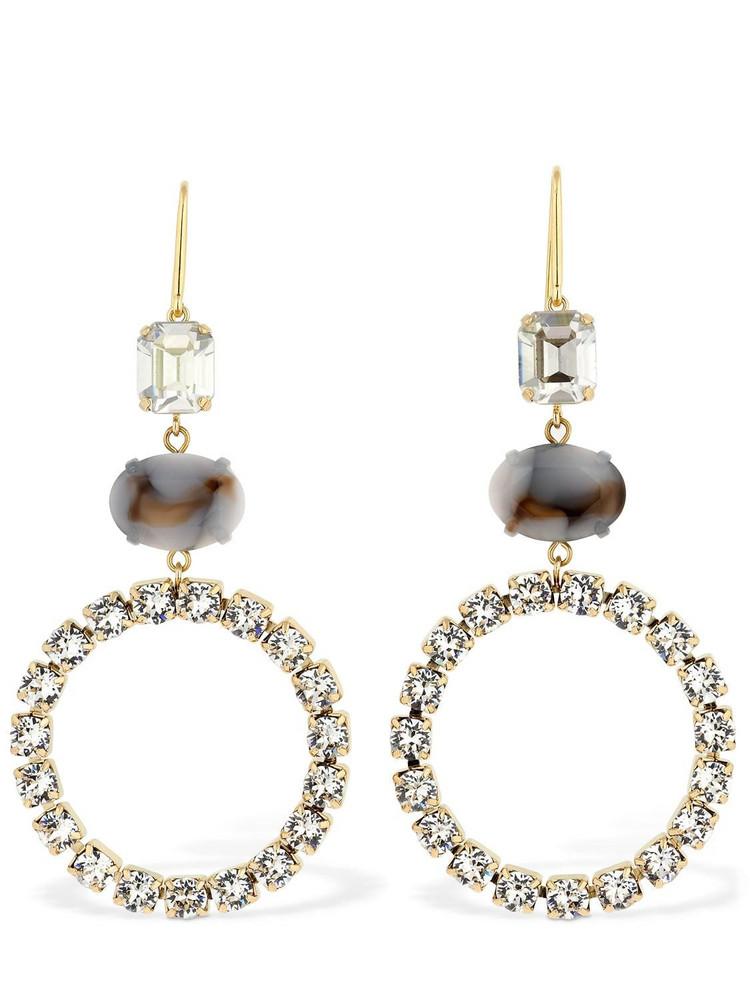 ISABEL MARANT Boy G Stone Crystal Small Hoop Earrings in beige