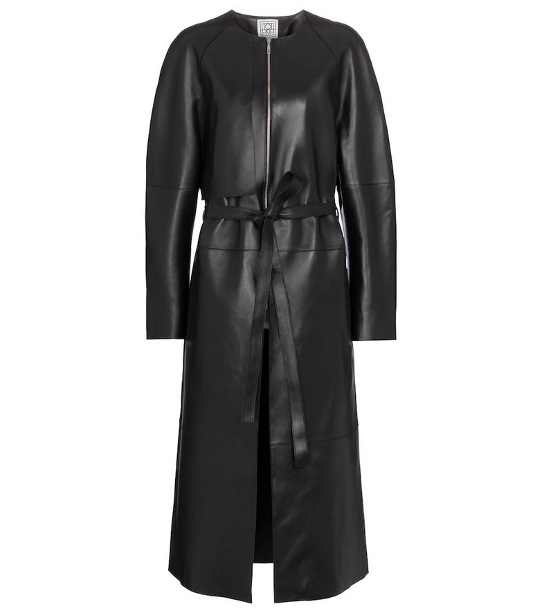 Toteme Belted leather coat in black