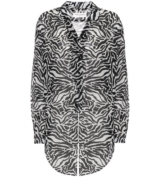 Saint Laurent Zebra-print wool shirt in black