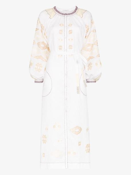 Vita Kin bodrum embroidered linen dress in white