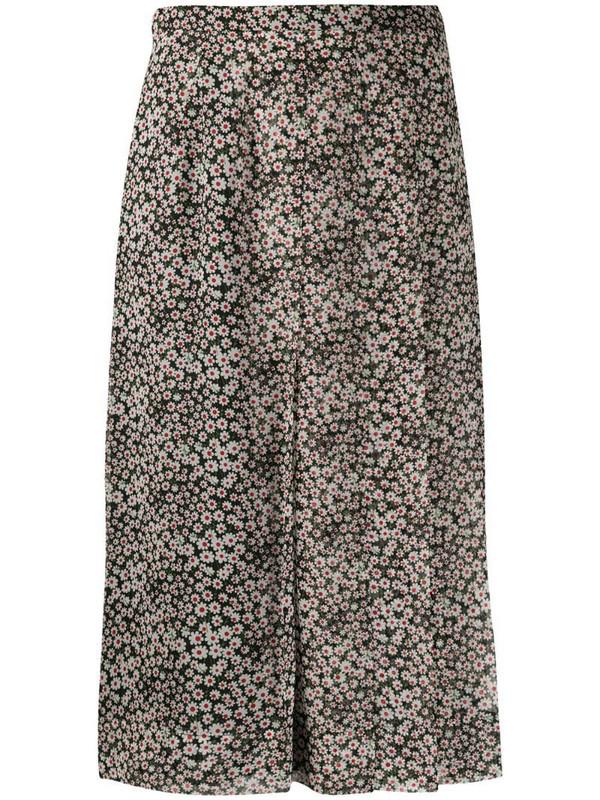 Rochas silk flower print pleated skirt in black