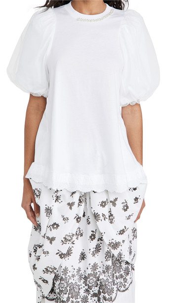 Simone Rocha Embelished A-Line Tulle Overlay Sleeve Top in white