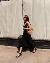 dress,black dress,asymmetrical,flat sandals,shoulder bag