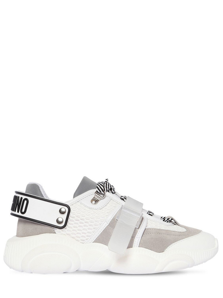 MOSCHINO 30mm Teddy Mesh & Suede Sneakers in grey / white