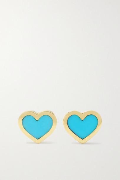 Jennifer Meyer - Extra Small Heart 18-karat Gold Turquoise Earrings