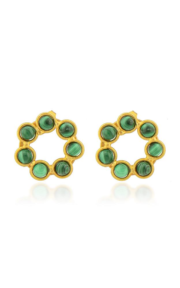 Sylvia Toledano Daisy 22K Gold-Plated Brass Malachite Earrings in green