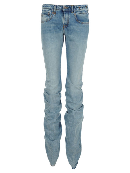 R13 Shirring Boy Boot Cut Jeans in blue
