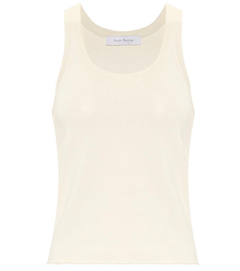Ryan Roche Stretch-knit tank top in white