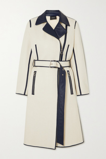 AKRIS - Belted Two-tone Leather-trimmed Cotton-blend Trench Coat - Ecru