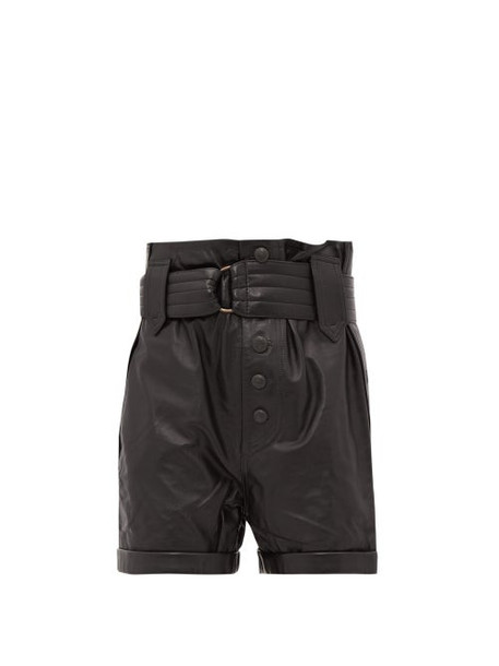 Dundas - Buttoned High Rise Leather Shorts - Womens - Black