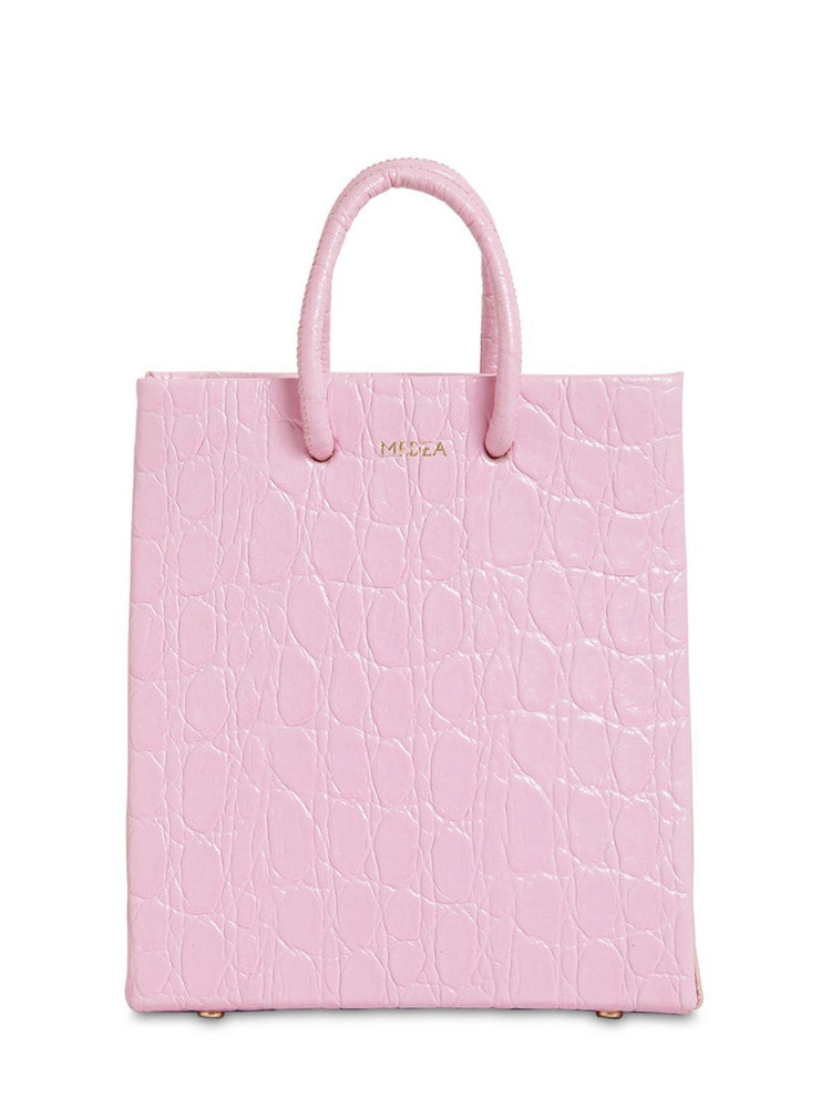 MEDEA Short Croc Embossed Leather Bag in pink
