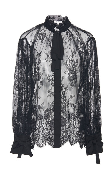 Equipment Marilda Sheer Lace Blouse Size: XS in black