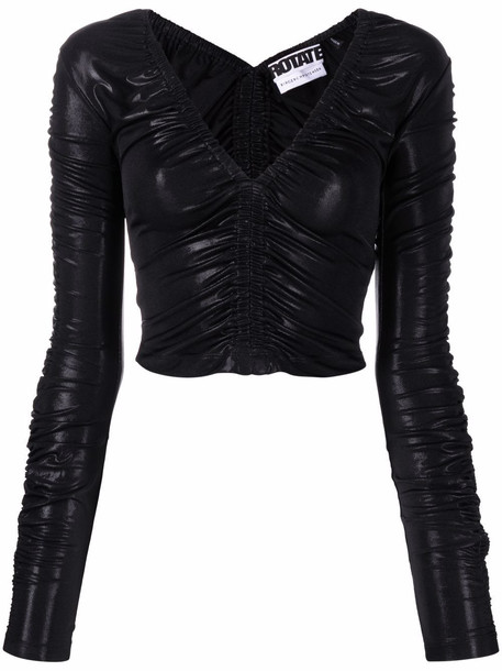ROTATE Adelyn ruched fitted top - Black