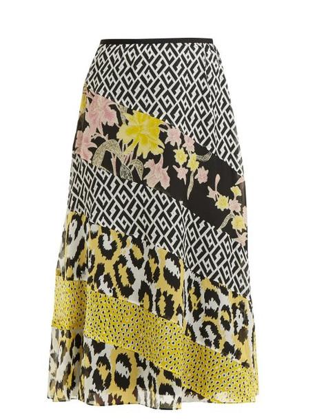 Diane Von Furstenberg - Darcie Printed Panel Silk Midi Skirt - Womens - Ivory Multi