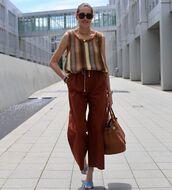 top,striped top,wide-leg pants,stripes,knit,sandal heels,bag