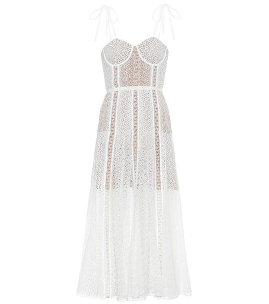 Self-Portrait Floral lace midi dress in white