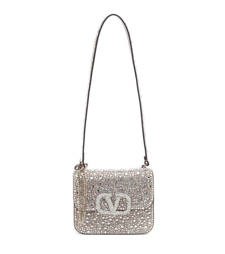 Valentino Garavani VSLING Small embellished shoulder bag in silver