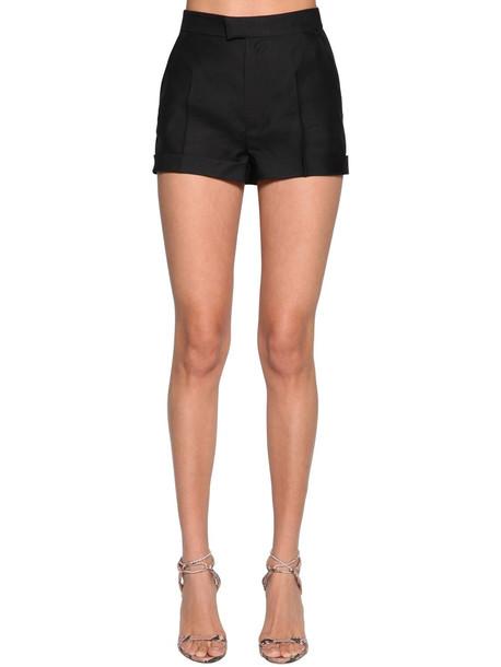 DSQUARED2 High Waist Wool & Silk Shorts in black