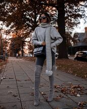 jeans,skinny jeans,over the knee boots,black boots,sweater,scarf