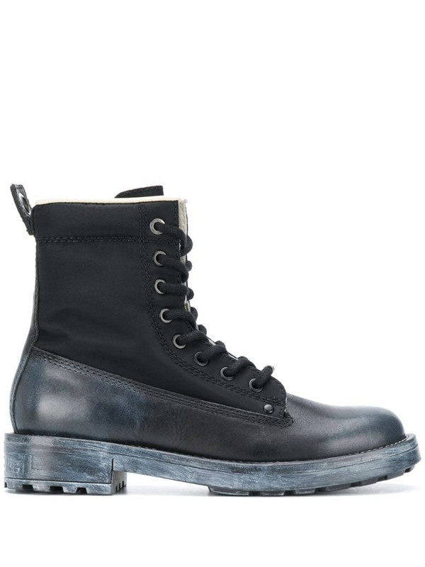 Diesel lace-up leather boots in black