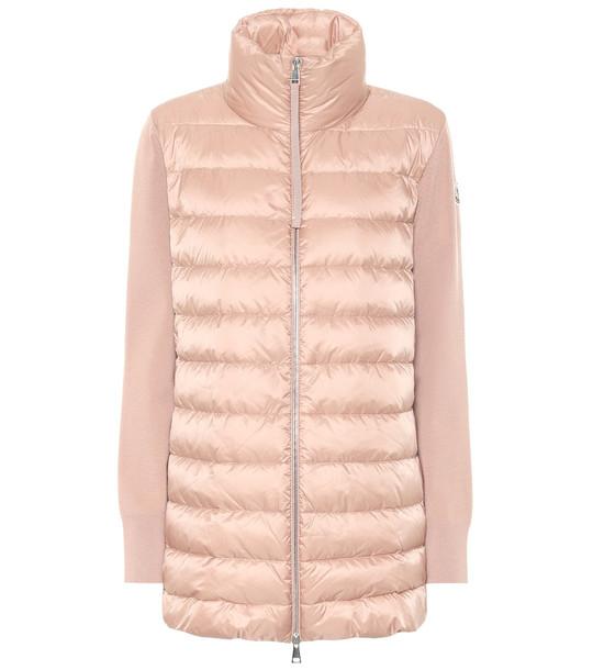 Moncler Down and virgin wool jacket in beige