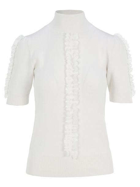 See by Chloé See By Chloe High Neck Sweater With Lace Detail in white