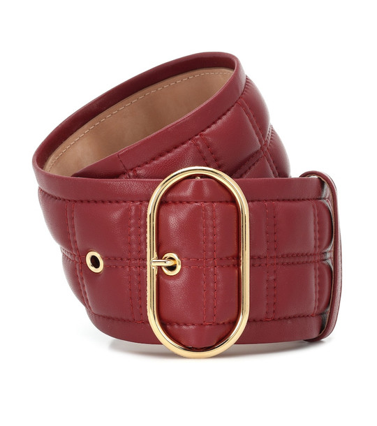 Acne Studios Quilted leather belt in red