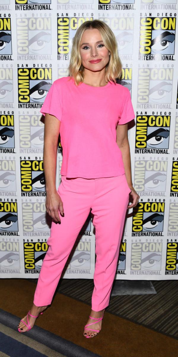 top pink top pink pants kristen bell celebrity pink