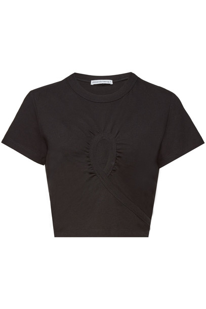 alexanderwang.t Draped Cotton Top with Cut-Out Detail  in black