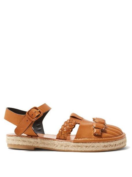 Loewe - Braided Leather Sandals - Womens - Tan