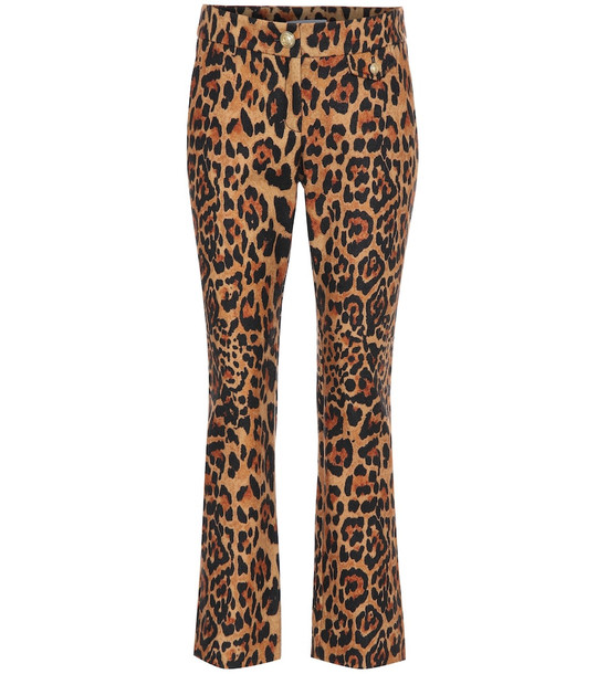 Paco Rabanne Leopard-print wool pants in brown