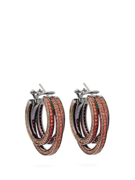 Lynn Ban - Sonic Sapphire & Rhodium Plated Hoop Earrings - Womens - Orange