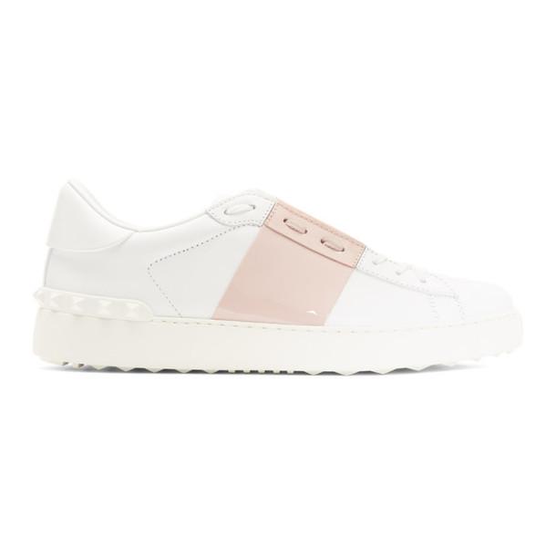 Valentino White and Pink Valentino Garavani Open Sneakers