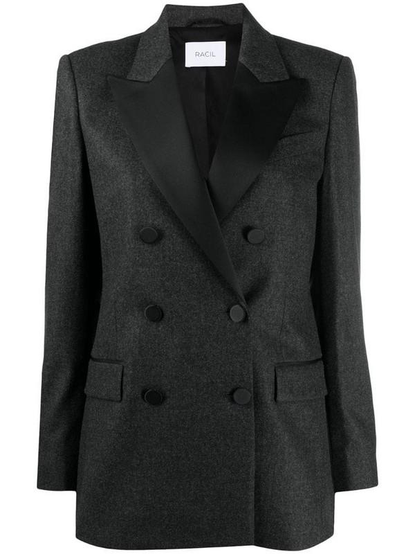 Racil peaked lapel virgin wool blazer in grey