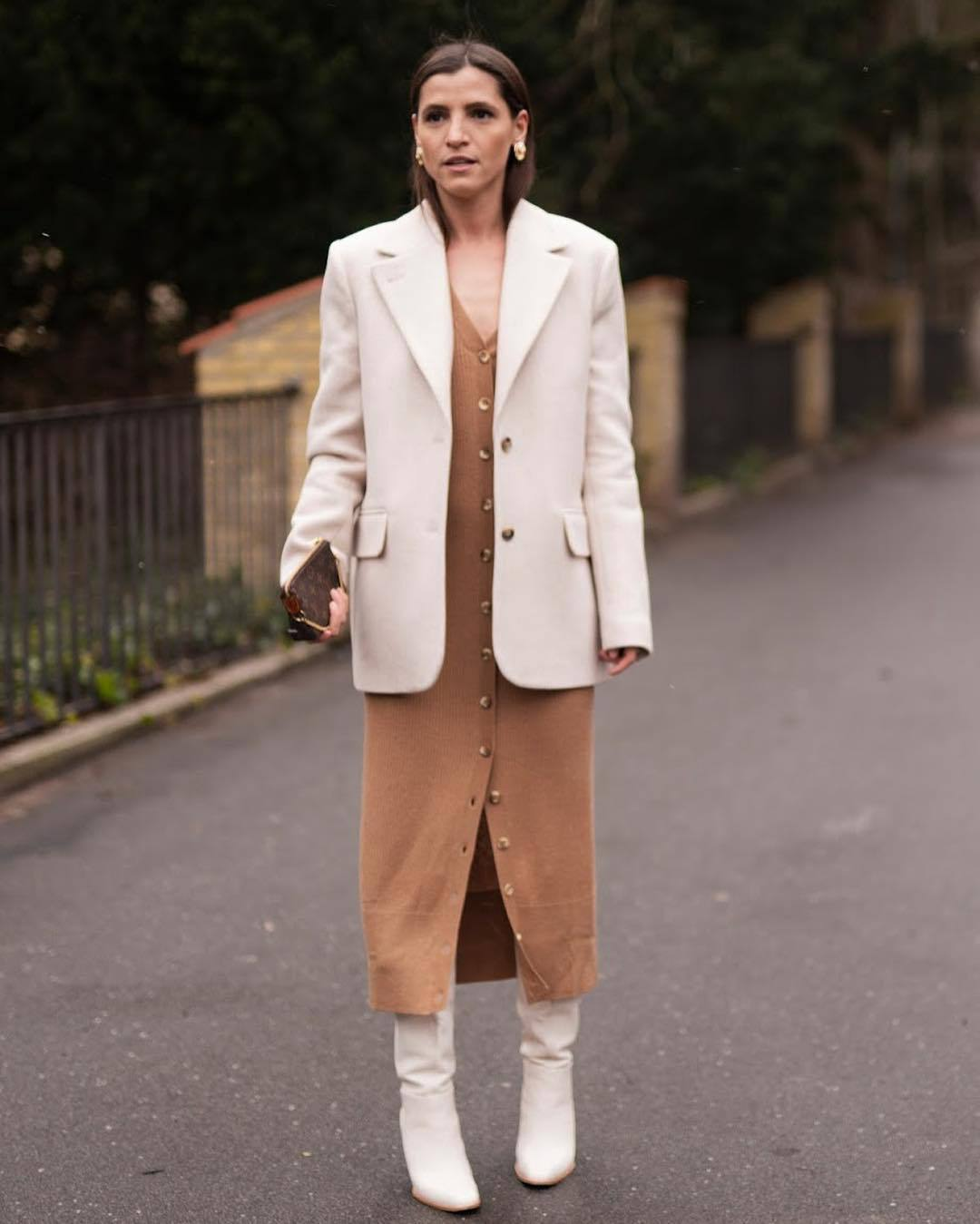 jacket blazer wool white boots knee high boots heel boots knitted dress