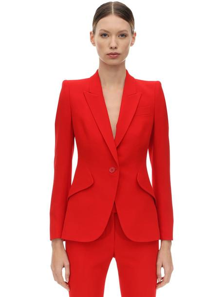 ALEXANDER MCQUEEN Leaf Crepe Single Breast Blazer Jacket in red