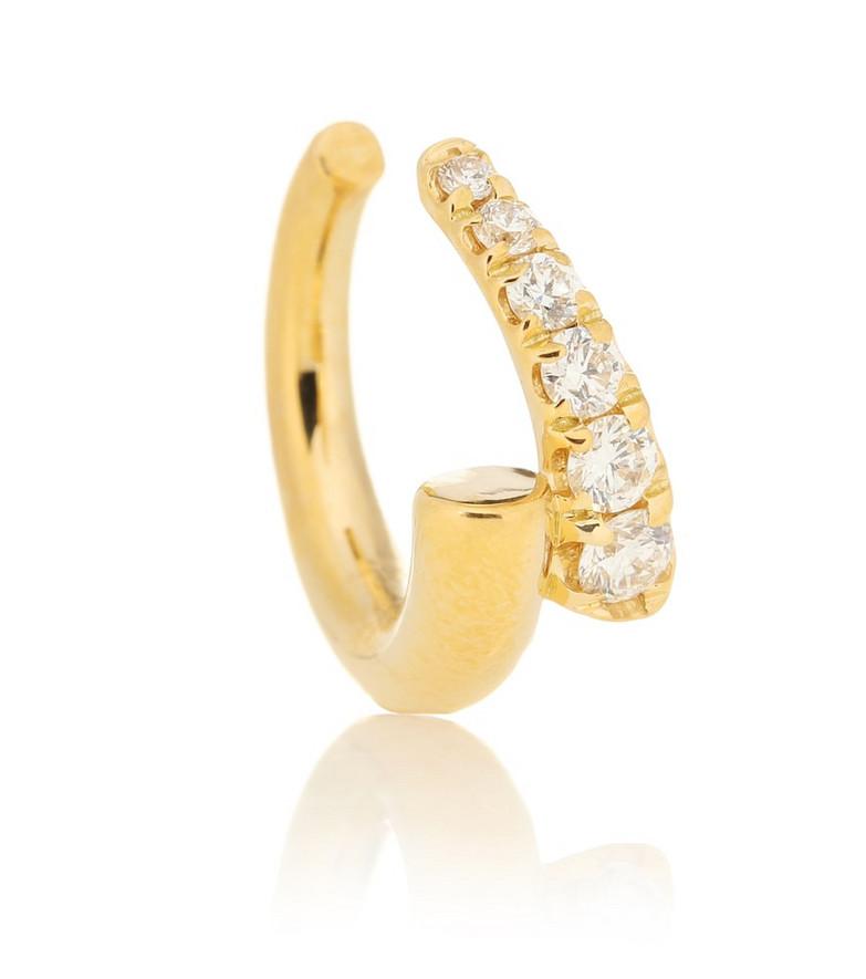 Melissa Kaye Lola 18kt gold single ear cuff with diamonds