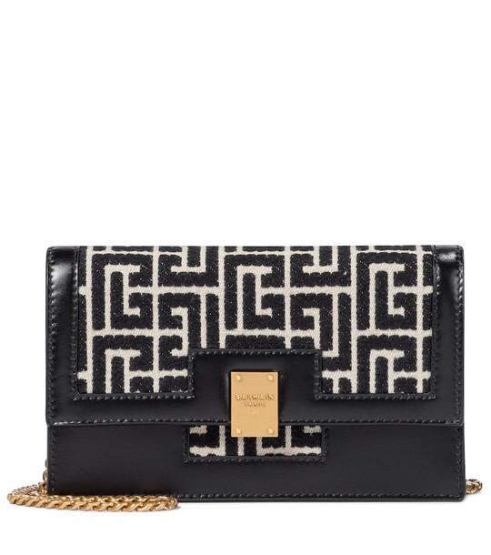 Balmain 1945 Mini jacquard shoulder bag in black