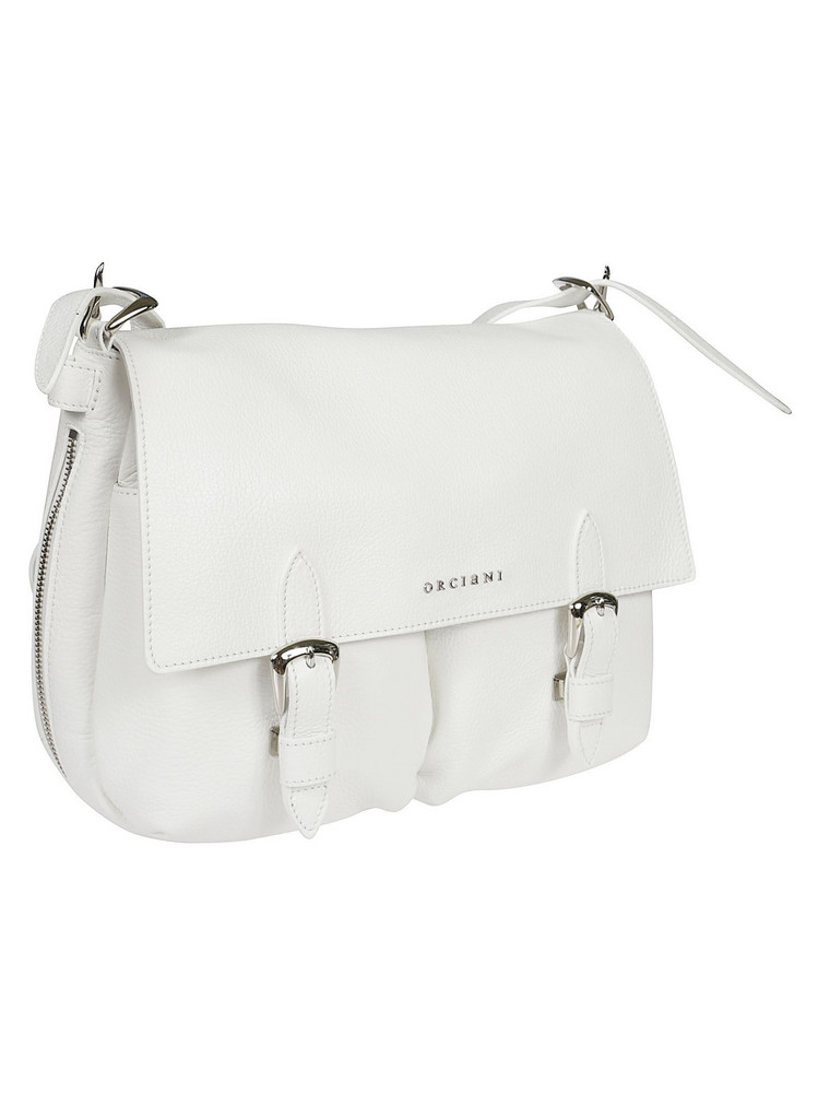 Orciani Double Buckle Shoulder Bag in white